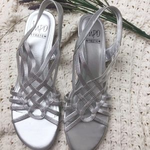 Impo stretch sling back dress wedge sandals